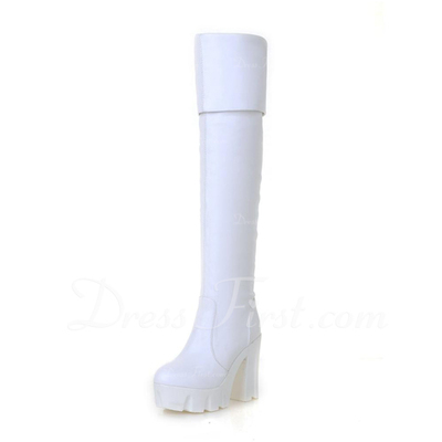 Suni deri Kalın Topuk Platform Diz Yüksek Boots ayakkabı (088056384)