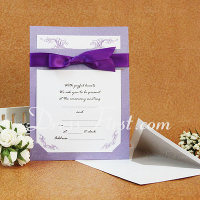 Classic Style Flat Card Invitation Cards With Ribbons (Set of 50) (114030779)