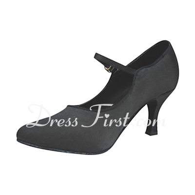 Women's Satin Heels Pumps Modern With Buckle Dance Shoes (053013136)