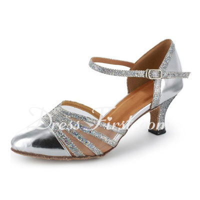 Women's Sparkling Glitter Patent Leather Heels Pumps Modern With Ankle Strap Dance Shoes (053021534)