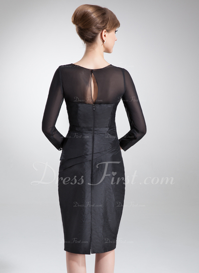 Sheath/Column Square Neckline Knee-Length Taffeta Mother of the Bride Dress With Ruffle Beading (008006179)