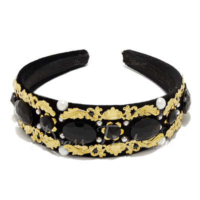 Baroque Style Alloy/Acrylic Headbands With Venetian Pearl (042055980)