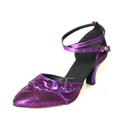 Dla kobiet Skóra ekologiczna Sparkling Glitter Obcasy Pompy Nowoczesny Sala Balowa Z Bowknot Buty do Tańca (053013400)