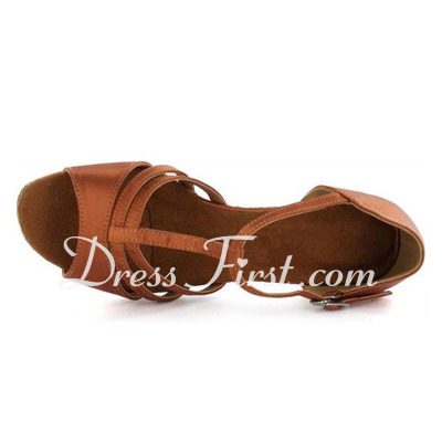 Kids' Satin Sandals Flats Latin With T-Strap Dance Shoes (053022360)