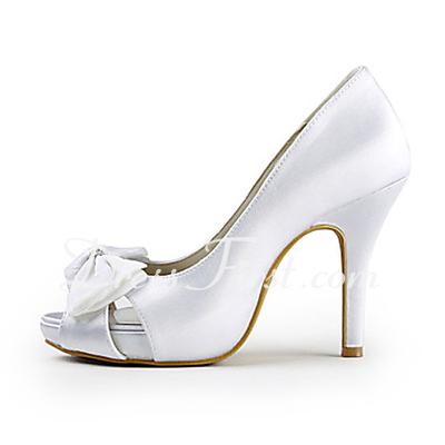 Satyna Stiletto Heel Peep Toe Platforma Pompy Buty ślubne Bowknot Rhinestone (047015271)