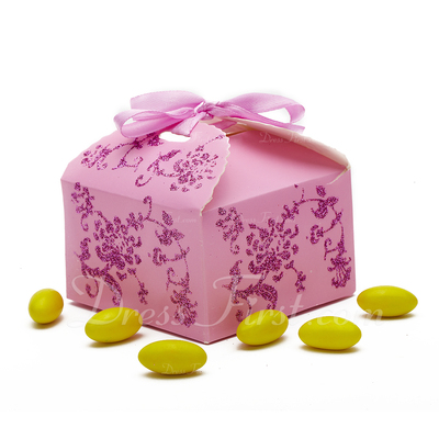 Floral Design Cuboid Favor Boxes (Set of 12) (050024300)