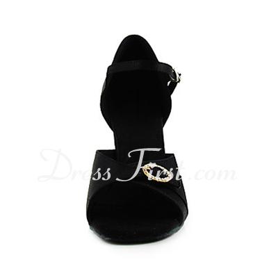 Kadın Saten Topuk Sandalet Latin Ile Yapay elmas Dans Ayakkabıları (053013467)
