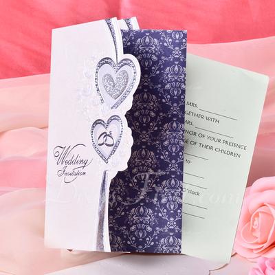 Heart Style Tri-Fold Invitation Cards (Set of 50) (114033289)