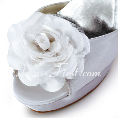 Women's Satin Stiletto Heel Peep Toe Platform Sandals With Beading Satin Flower (047011803)