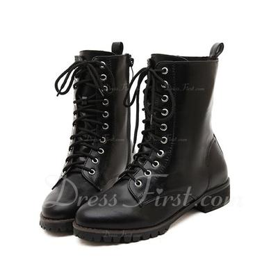 Suni deri Düz Topuk Ayak bileği Boots Ile Bağcıklı ayakkabı (088056650)