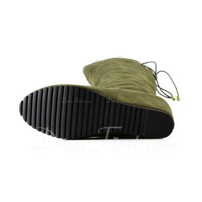 Süet Dolgu Topuk Platform Diz Yüksek Boots Ile Çiçek Örgülü Askı ayakkabı (088057477)