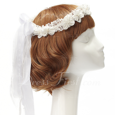 Pretty Lace/Satin Headbands With Venetian Pearl (042057221)