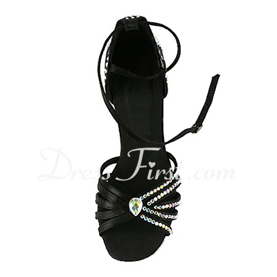 Women's Satin Heels Sandals Latin With Rhinestone Ankle Strap Dance Shoes (053018644)