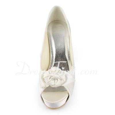 Saten İnce Topuk Burnu Açık Platform Sandalet Düğün Ayakkabıları Ile Saten Çiçek (047011815)