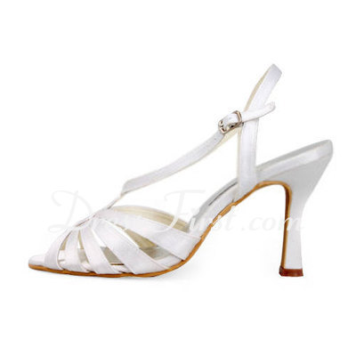 Women's Satin Stiletto Heel Sandals Slingbacks (047011812)