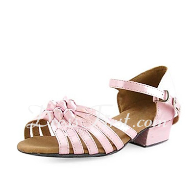 Women's Kids' Satin Heels Sandals Flats Latin Ballroom With Bowknot Dance Shoes (053013216)