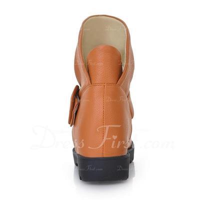 Cuero Tacón plano Botas al tobillo con Hebilla zapatos (088054395)