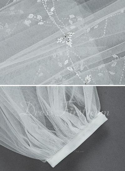 Dwuwarstwowe Opuszki palca ślubne welony Z Cięte Bez Lamówki (006034216)