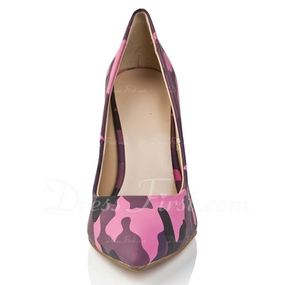 Leatherette Stiletto Heel Pumps Closed Toe shoes (085055821)