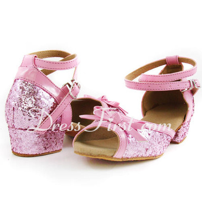 Women's Kids' Leatherette Sparkling Glitter Heels Sandals Latin With Bowknot Ankle Strap Dance Shoes (053013003)