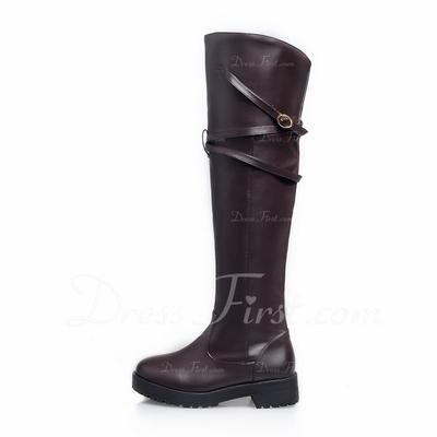 Suni deri Alçak Topuk Diz Yüksek Boots ayakkabı (088056364)
