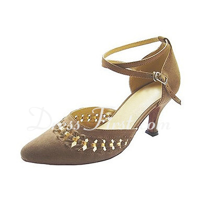 Women's Nubuck Heels Pumps Ballroom With Ankle Strap Dance Shoes (053013037)