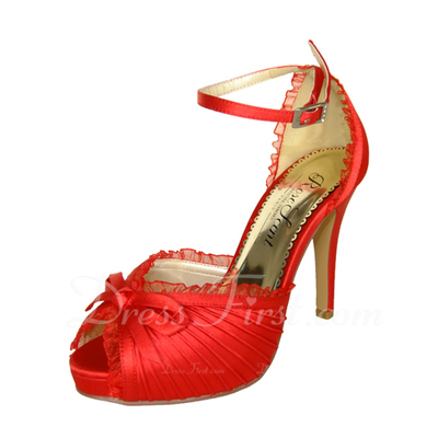 Women's Satin Stiletto Heel Peep Toe Platform Sandals With Bowknot (047057127)