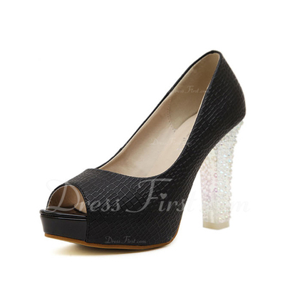 Leatherette Chunky Heel Sandals Peep Toe shoes (087055552)