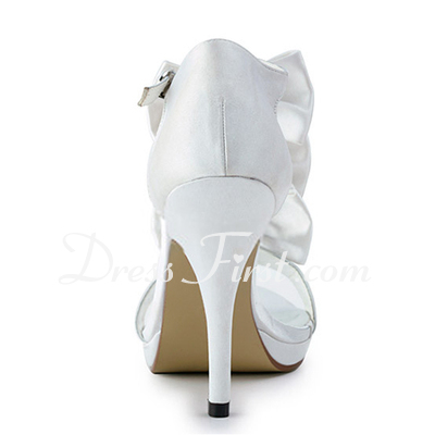 Women's Satin Stiletto Heel Platform Sandals With Bowknot Rhinestone (047011808)