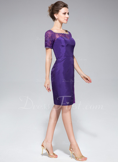 Sheath/Column Off-the-Shoulder Knee-Length Taffeta Lace Cocktail Dress With Beading Sequins (016050421)