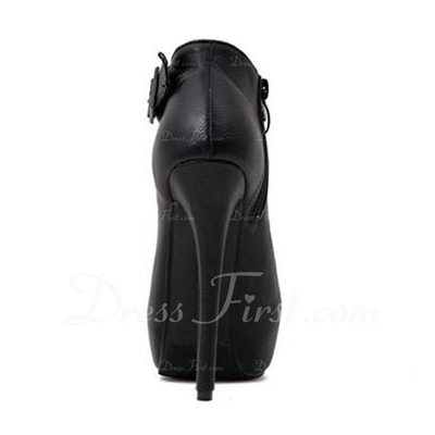 Suni deri İnce Topuk Pompalar Platform Kapalı Toe Bot Ayak bileği Boots Ile Toka Fermuar ayakkabı (088057542)