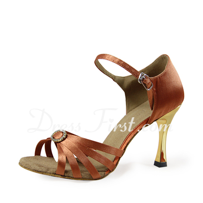Women's Satin Heels Sandals Latin With Rhinestone Dance Shoes (053019965)