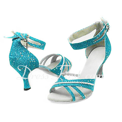 Women's Sparkling Glitter Heels Sandals Latin Ballroom With Ankle Strap Dance Shoes (053013273)