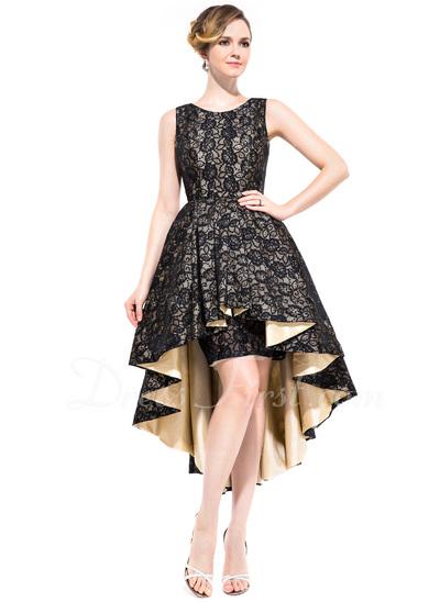 A-Line/Princess Scoop Neck Asymmetrical Taffeta Cocktail Dress With Ruffle (016050137)