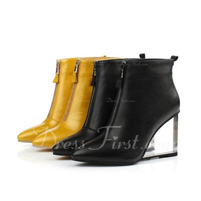 Gerçek Deri Dolgu Topuk Ayak bileği Boots Ile Fermuar ayakkabı (088057300)