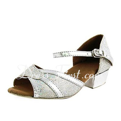 Women's Kids' Leatherette Sparkling Glitter Heels Sandals Flats Latin Wedding Dance Shoes (053013451)