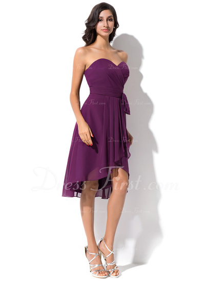 A-Line/Princess Sweetheart Asymmetrical Chiffon Bridesmaid Dress With Bow(s) Cascading Ruffles (007050075)