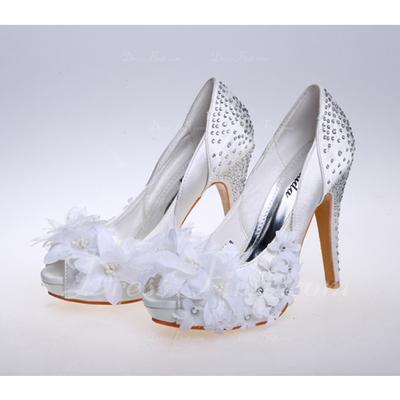 Women's Satin Stiletto Heel Closed Toe Platform Pumps Sandals With Rhinestone Flower (047057138)