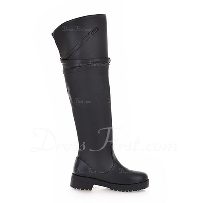 Leatherette Low Heel Knee High Boots With Buckle shoes (088056004)