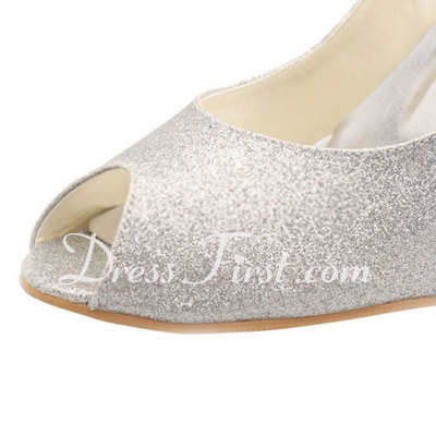 Women's Sparkling Glitter Stiletto Heel Peep Toe Sandals Slingbacks (047011896)