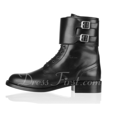 Real Leather Low Heel Pumps Closed Toe Ankle Boots With Buckle shoes (088055770)