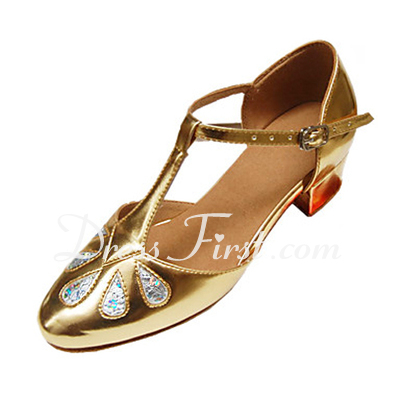Kids' Leatherette Patent Leather Flats Modern Ballroom With T-Strap Dance Shoes (053013394)