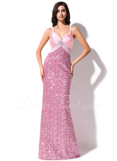 Sheath/Column Sweetheart Sweep Train Sequined Prom Dress With Beading (018044969)