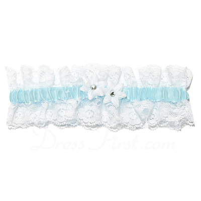 Delicate Satin Lace With Flower Wedding Garters (104026913)