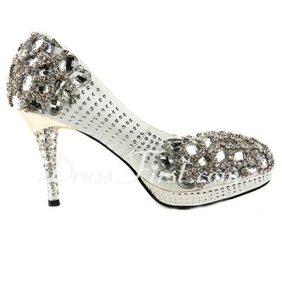 Women's Satin Cone Heel Closed Toe Platform Pumps With Rhinestone Jewelry Heel (047033926)