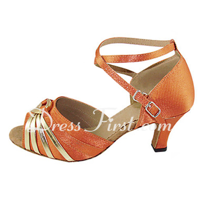 Women's Satin Patent Leather Heels Sandals Latin With Ankle Strap Dance Shoes (053013363)