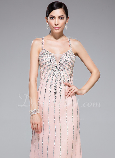 Trumpet/Mermaid Sweetheart Floor-Length Chiffon Prom Dress With Beading Sequins (018044977)