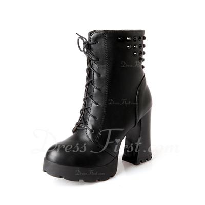 Suni deri Kalın Topuk Ayak bileği Boots Ile Bağcıklı ayakkabı (088056536)