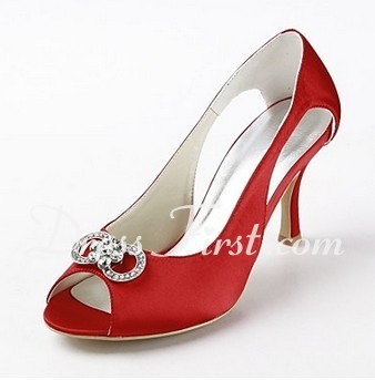 Women's Satin Stiletto Heel Peep Toe Sandals With Rhinestone (047011841)