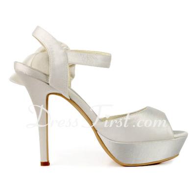 Satyna Szpilki Buty na Platformie Bez Pięty Sandały Buty Ślubne Z Klamra Satynowy Kwiat (047011830)